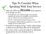 tips to consider when speaking with your service provider