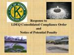 response to ldeq consolidated compliance order and notice of potential penalty