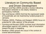 literature on community based and driven development