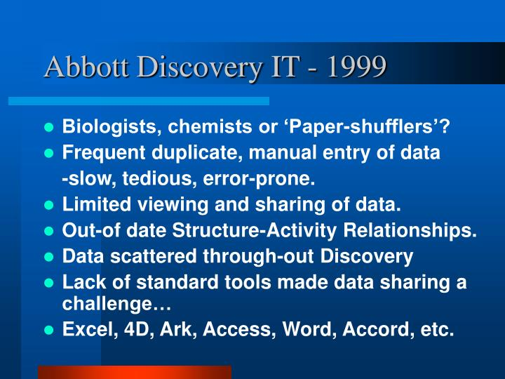 Abbott discovery it 1999