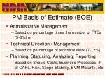 pm basis of estimate boe