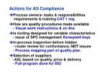 actions for as compliance