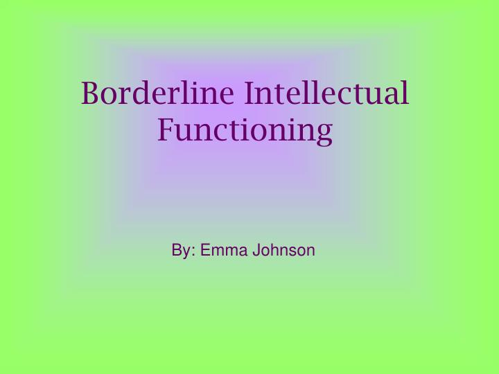 borderline intellectual functioning n.