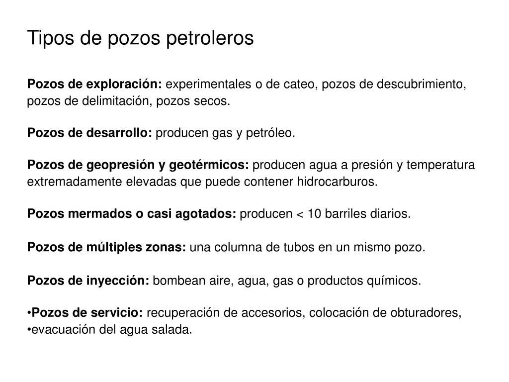 Tipos de pozos petroleros