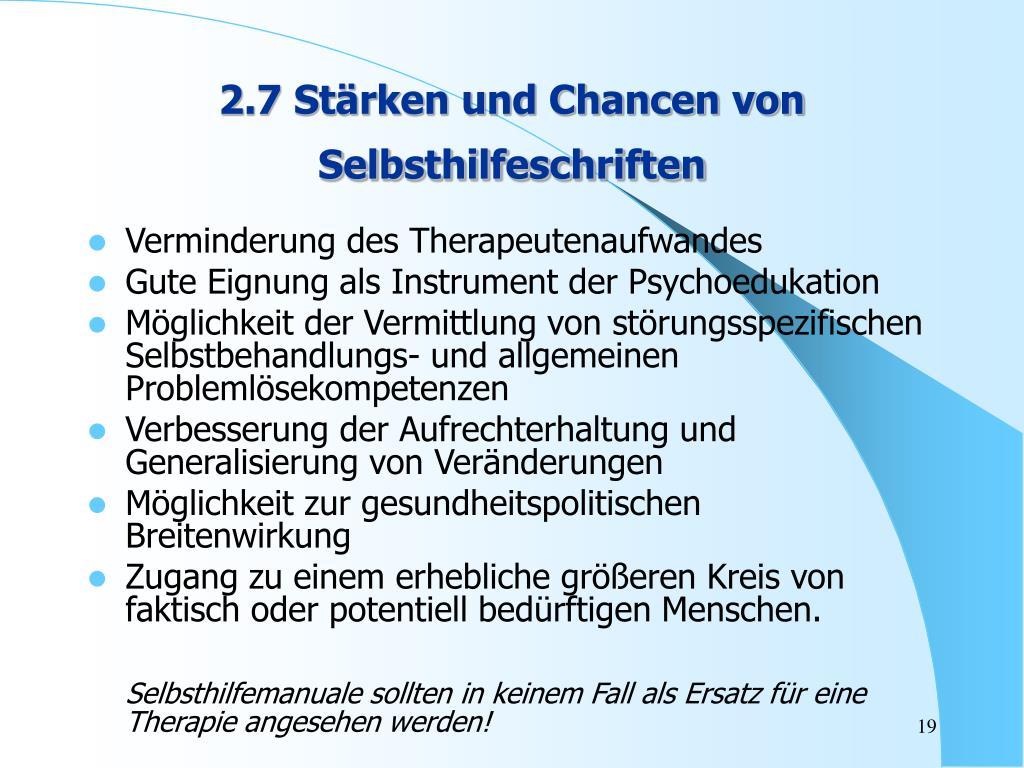 2.7 Stärken und Chancen von Selbsthilfeschriften