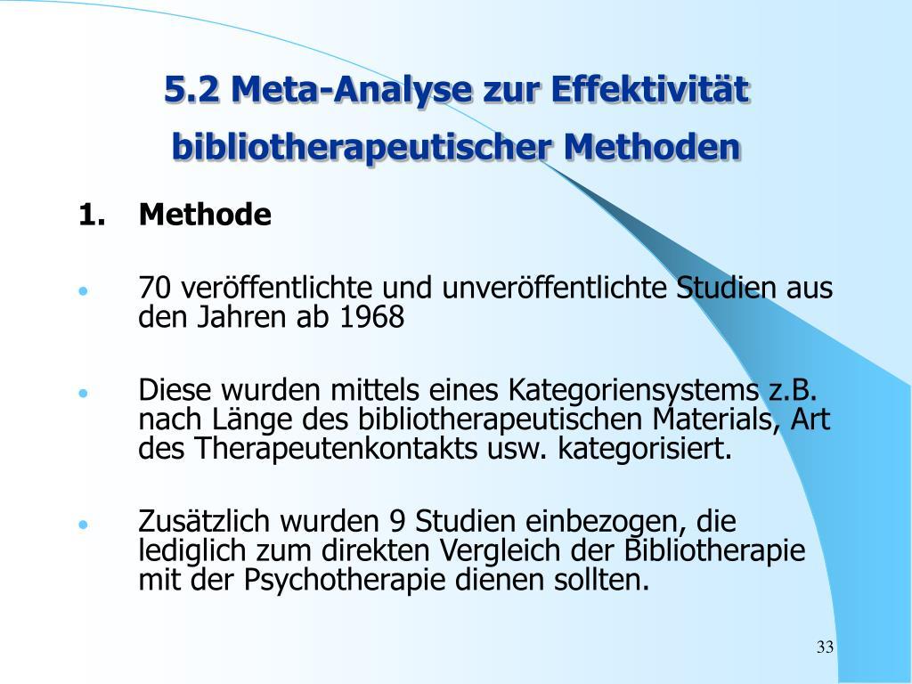 5.2 Meta-Analyse zur Effektivität bibliotherapeutischer Methoden