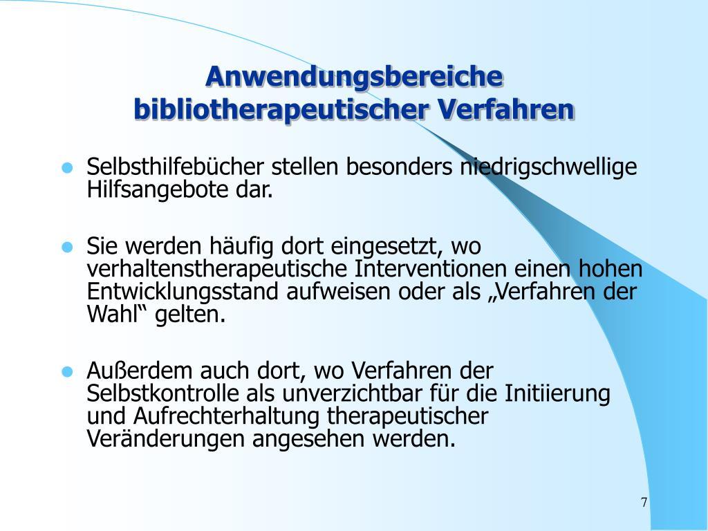 Anwendungsbereiche bibliotherapeutischer Verfahren