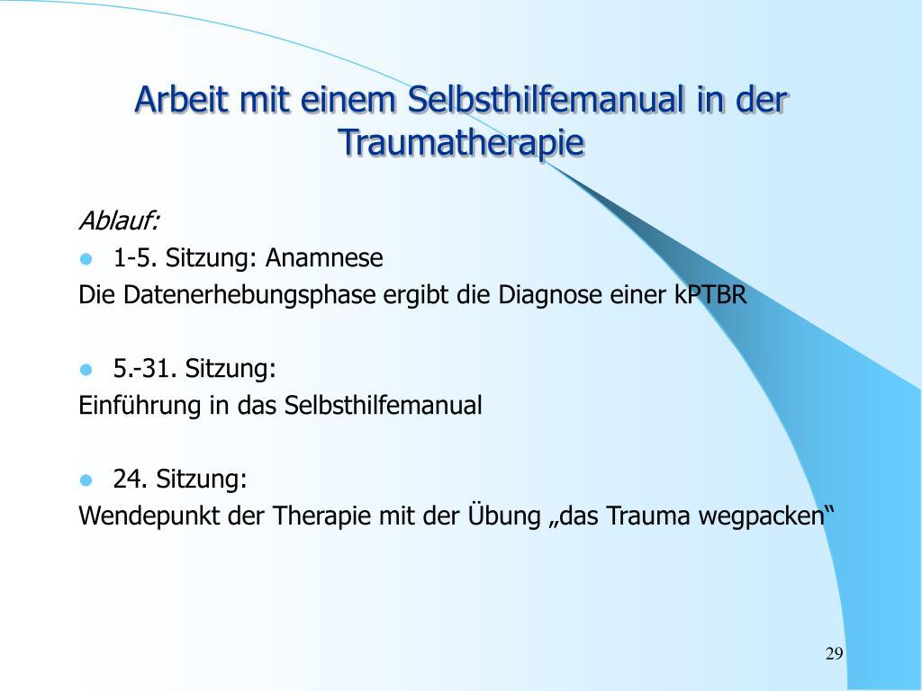 Arbeit mit einem Selbsthilfemanual in der Traumatherapie