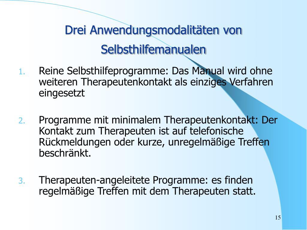 Drei Anwendungsmodalitäten von Selbsthilfemanualen