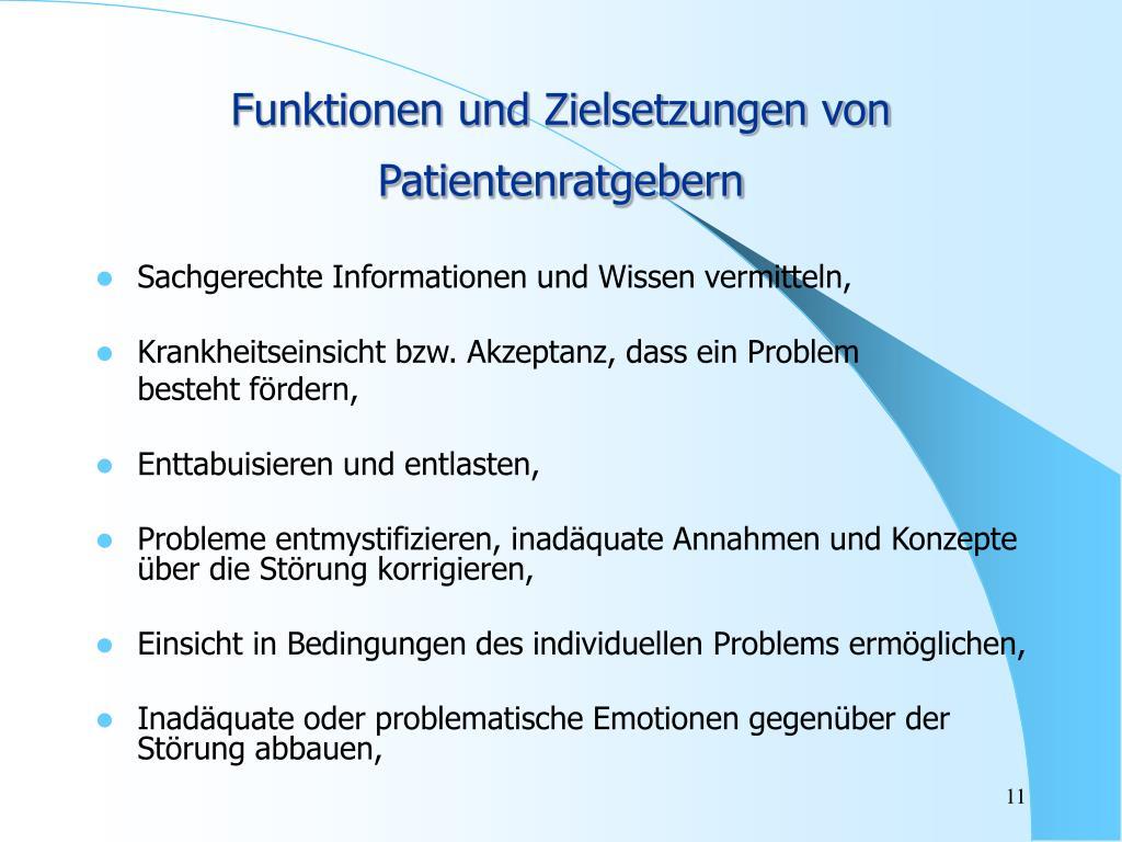 Funktionen und Zielsetzungen von Patientenratgebern