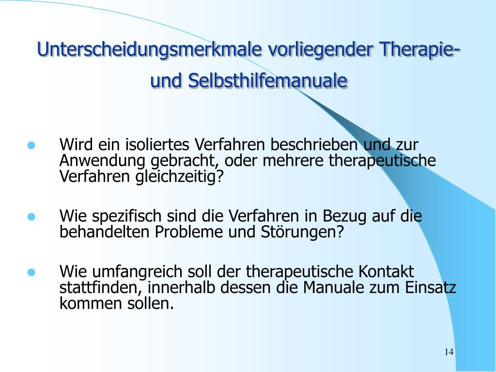 Unterscheidungsmerkmale vorliegender Therapie- und Selbsthilfemanuale