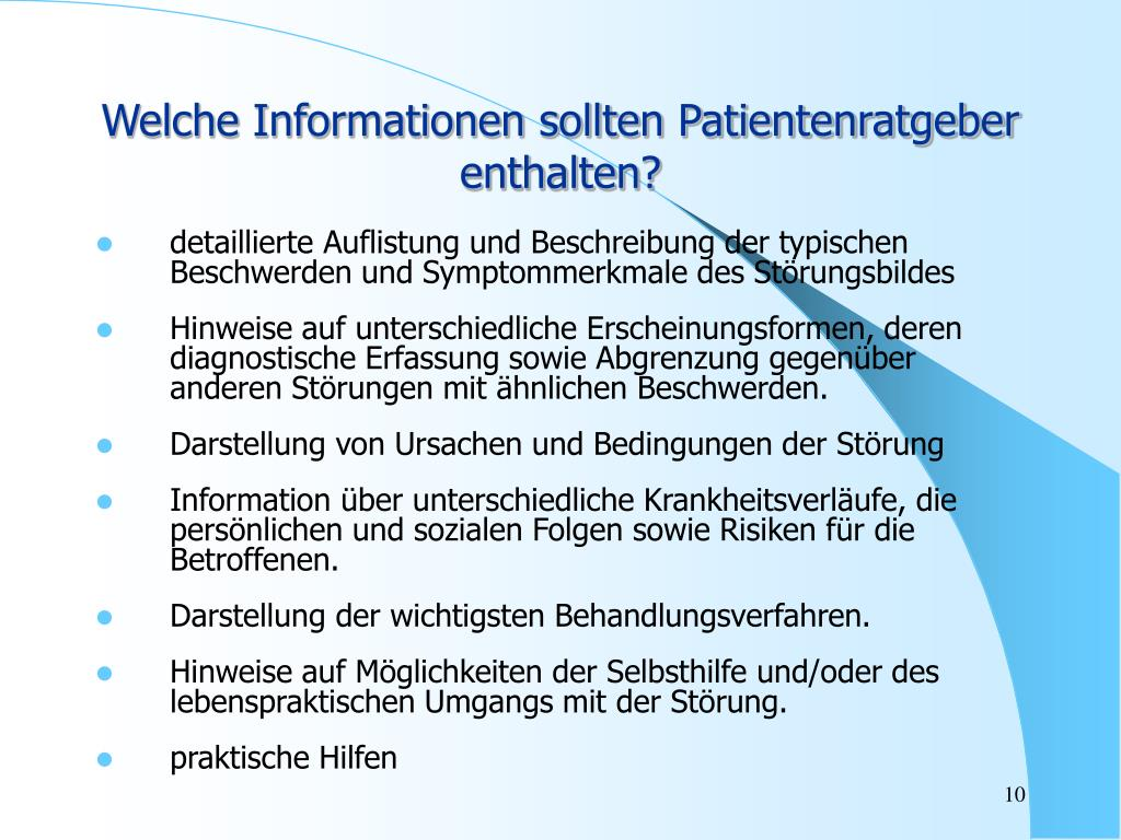Welche Informationen sollten Patientenratgeber enthalten?