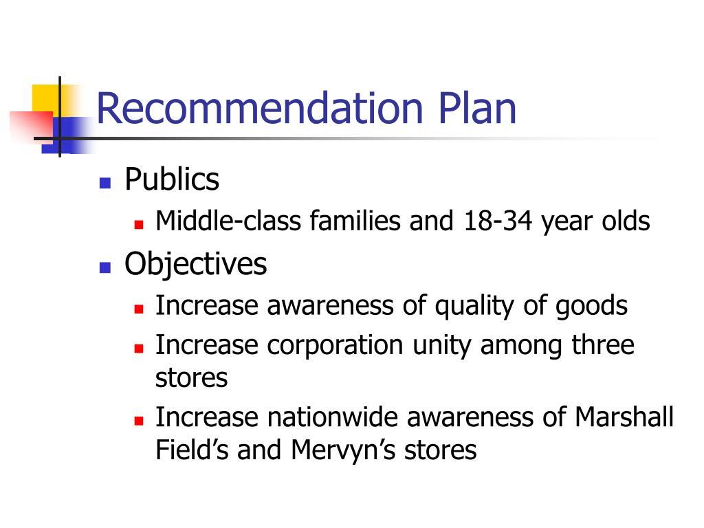 Recommendation Plan