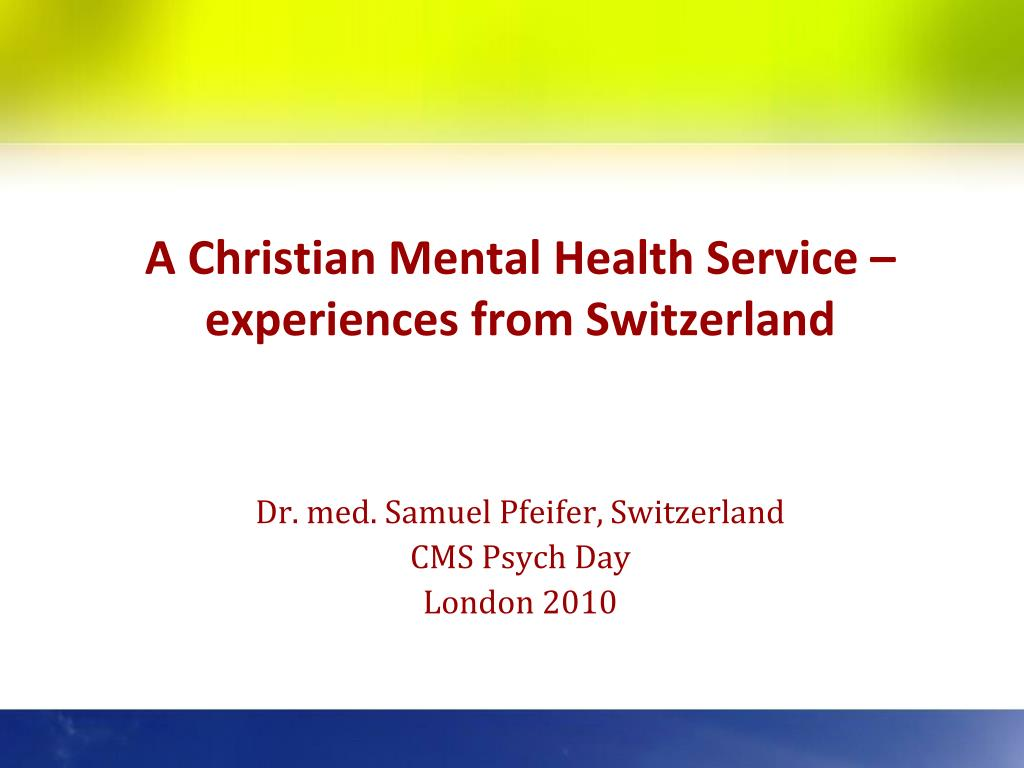 a christian mental health service experiences from switzerland