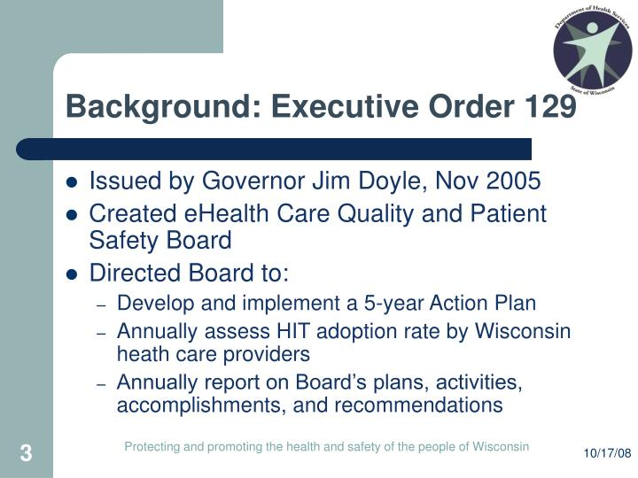 Background executive order 129