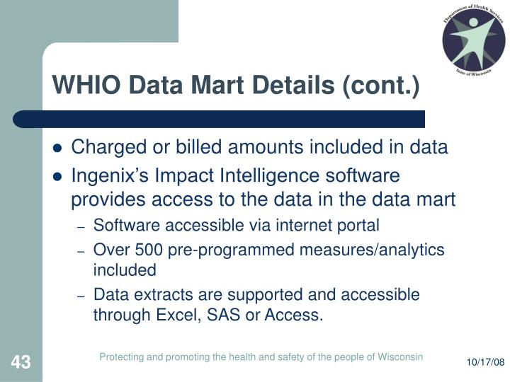 WHIO Data Mart Details (cont.)