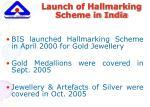 launch of hallmarking scheme in india