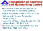 recognition of assaying and hallmarking centre