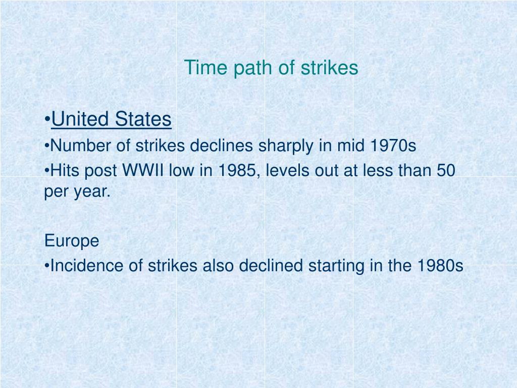 time path of strikes l.