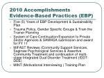 2010 accomplishments evidence based practices ebp