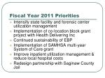 fiscal year 2011 priorities