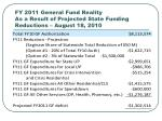 fy 2011 general fund reality as a result of projected state funding reductions august 18 2010