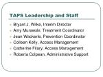 taps leadership and staff