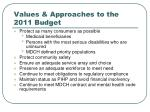 values approaches to the 2011 budget
