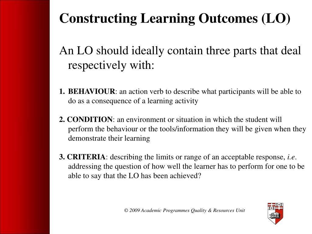 Constructing Learning Outcomes (LO)