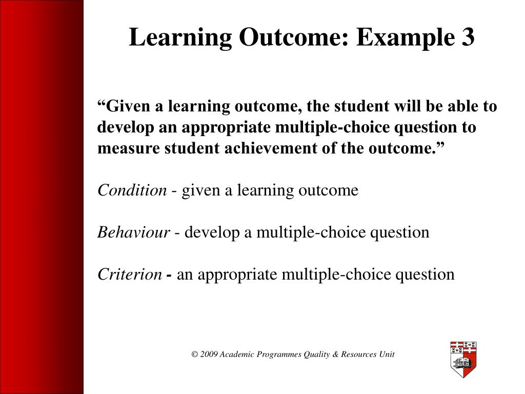 Learning Outcome: Example 3