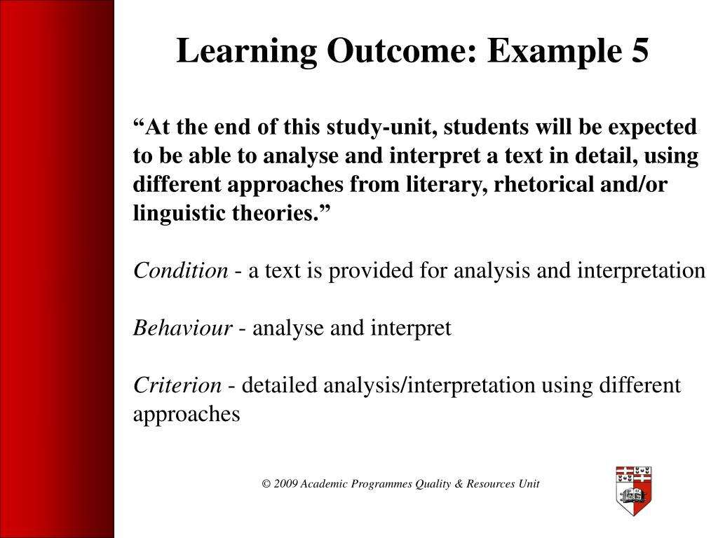 Learning Outcome: Example 5
