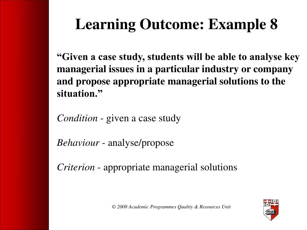 Learning Outcome: Example 8