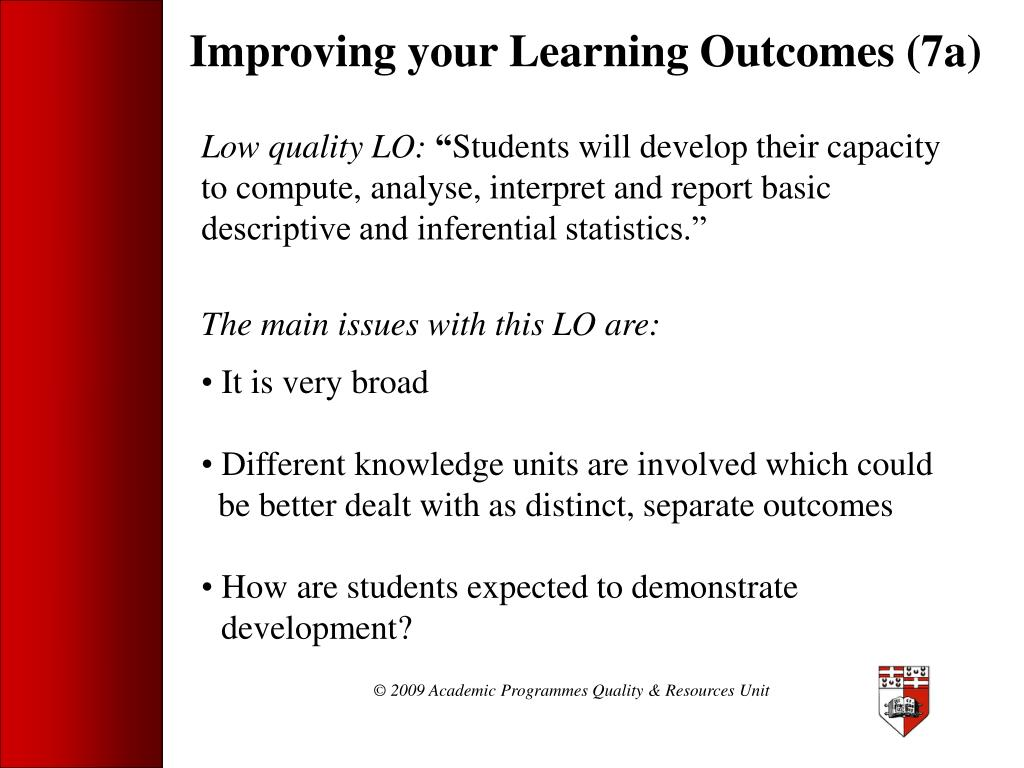 Improving your Learning Outcomes (7a)