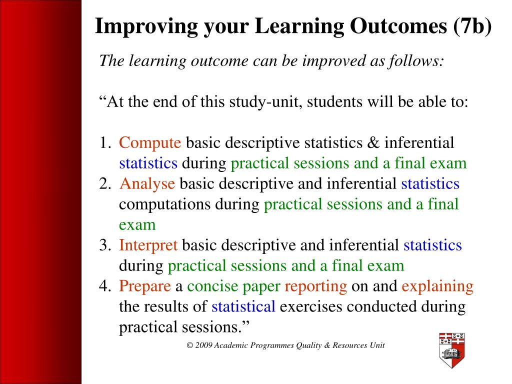 Improving your Learning Outcomes (7b)