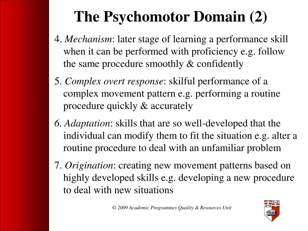 The Psychomotor Domain (2)