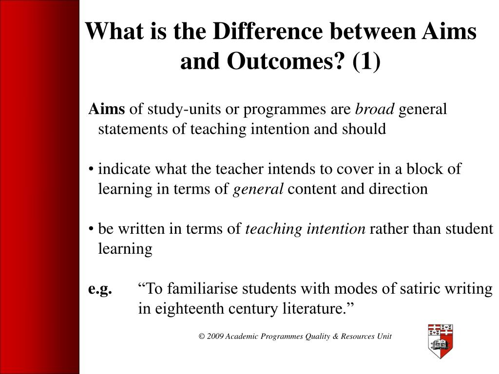 What is the Difference between Aims and Outcomes? (1)