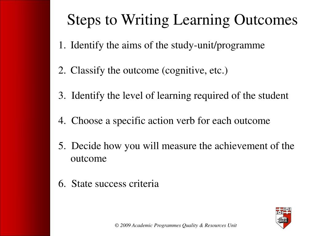 Steps to Writing Learning Outcomes