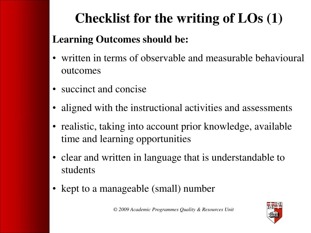 Checklist for the writing of LOs (1)