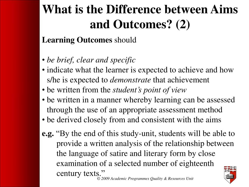 What is the Difference between Aims and Outcomes? (2)