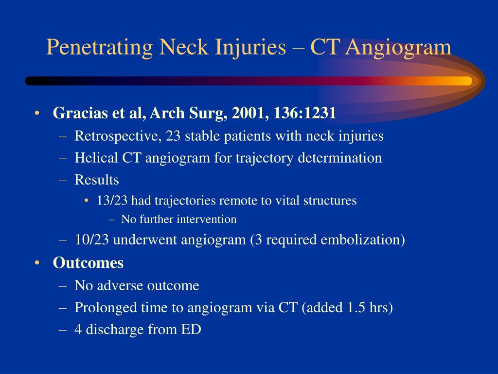 Penetrating Neck Injuries – CT Angiogram