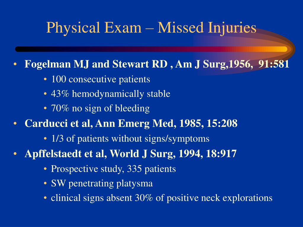 Physical Exam – Missed Injuries