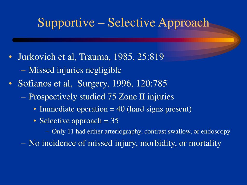 Supportive – Selective Approach