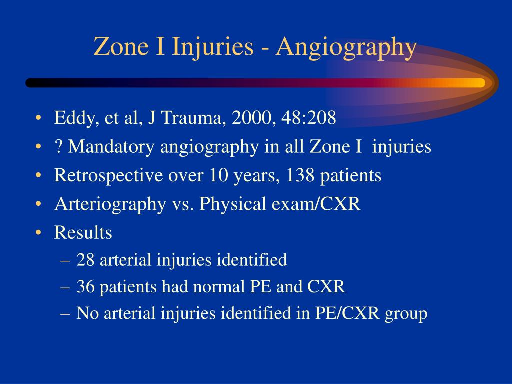 Zone I Injuries - Angiography