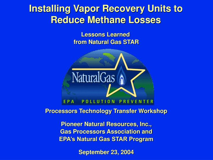 Vapor Recovery Units Natural Gas