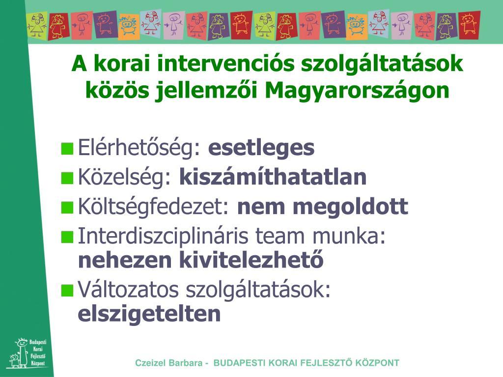 A korai intervenciós szolgáltatások közös jellemzői Magyarországon