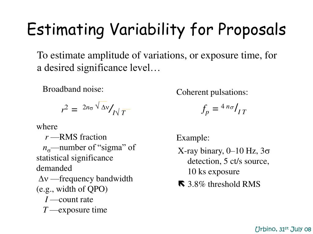 Estimating Variability for Proposals