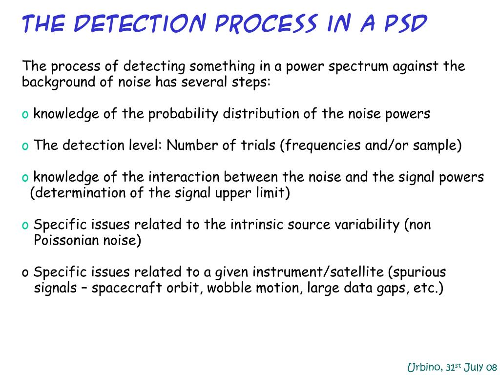 The detection process in a psd