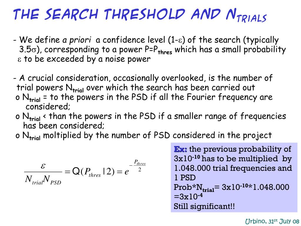 the search threshold and N
