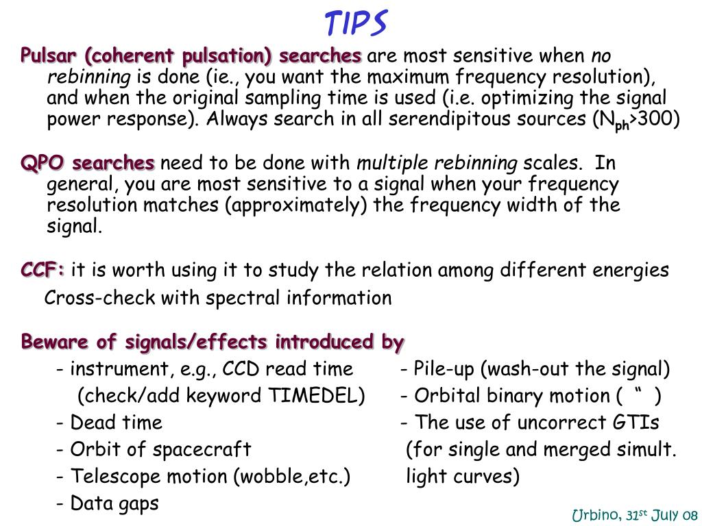 Pulsar (coherent pulsation) searches