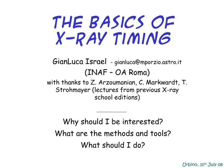 The basics of x ray timing